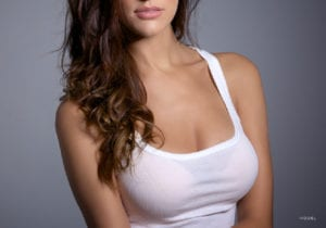 Woman Wearing a White Tank Top